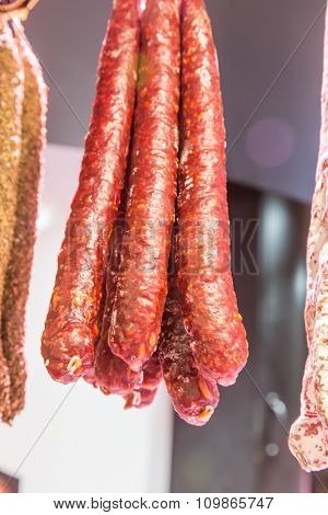Catalan Dry Sausages, Fuet Market In Barcelona