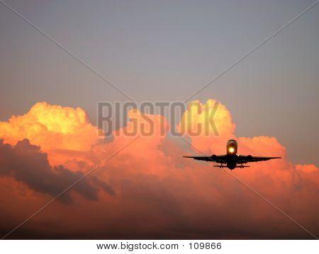 Jet Arriving At Dusk