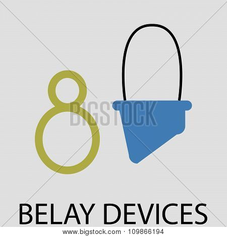 Belay devices icon flat design