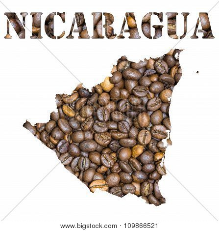 Nicaragua Word And Country Map Shaped With Coffee Beans Background