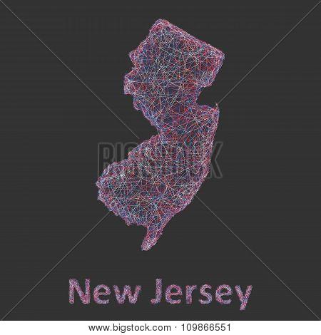 New Jersey line art map