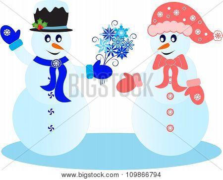 Snowmen Vectors, Snowflakes Vectors