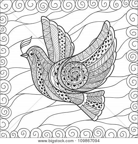 Zentangle stylized floral Pigeon for Peace Day.