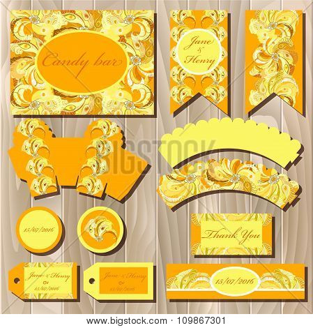 Set of printable backgrounds to wedding. Candy bar design.
