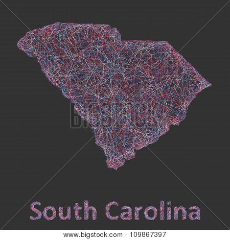 South Carolina line art map
