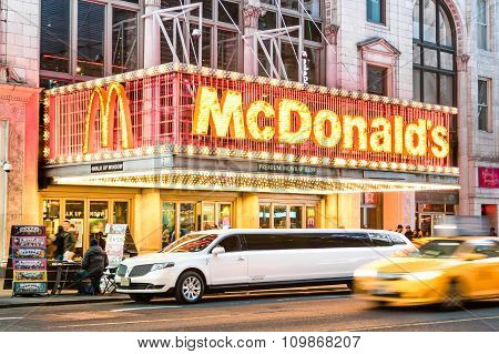 New York - March 25, 2015: Illuminated Neon Sign Of Burger Chain Mcdonalds Along 42Nd Street