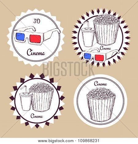 Sketch Cinema Food Logotype
