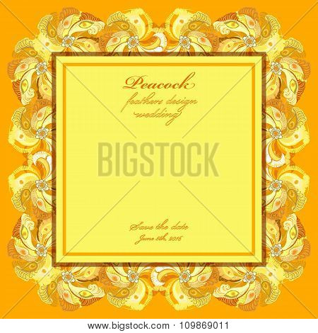 Peacock feathers wedding background. Printable vector frame illustration.