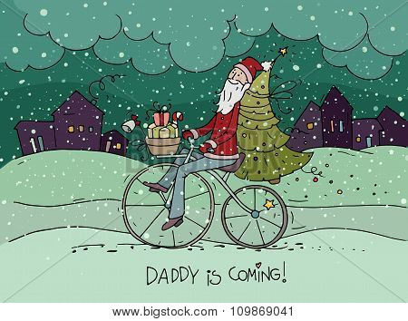 Cute Hipster Santa Claus On Bicycle Delivering Gifts