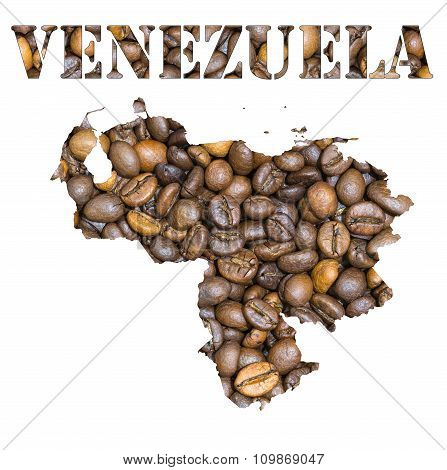 Venezuela Word And Country Map Shaped With Coffee Beans Background