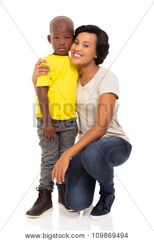 young african woman and son isolated on white background