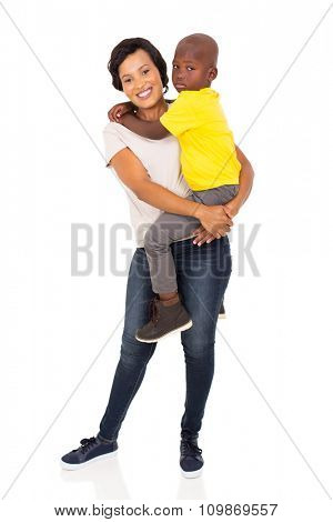 loving young african mother holding her son on white background