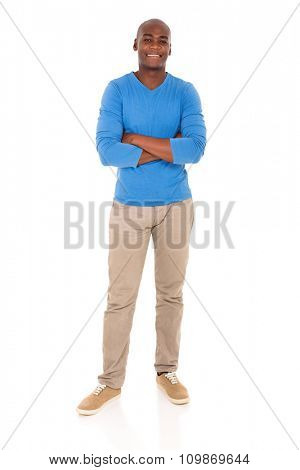 happy african man with arms crossed isolated on white background