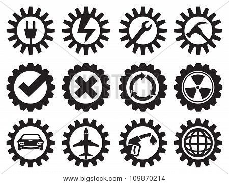 Black And White Industrial Gears Vector Icon Set