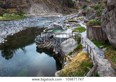 a hot springs in the mountain river