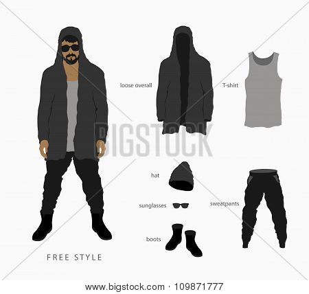 Glasses with a cap, pants with a hoodie