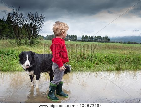 Little Boy And Dog In Puddle