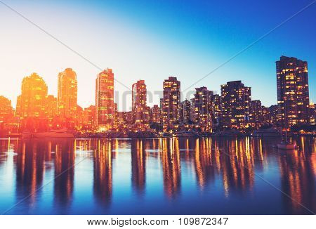 View of City Skyline at Sunset