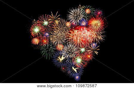 Golden orange amazing fireworks