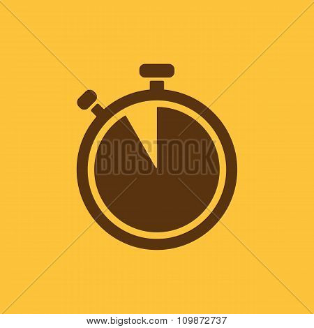 The stopwatch icon. Countdown symbol. Flat