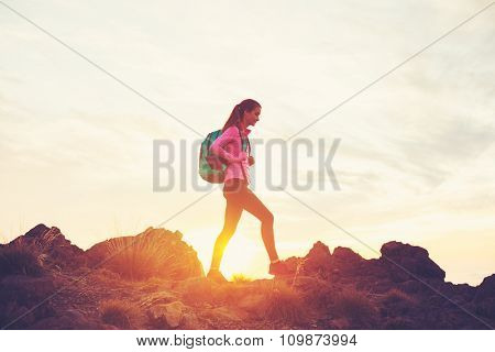 Woman Hiking in the Mountains at Sunset, Adventure Outdoor Active Lifestyle