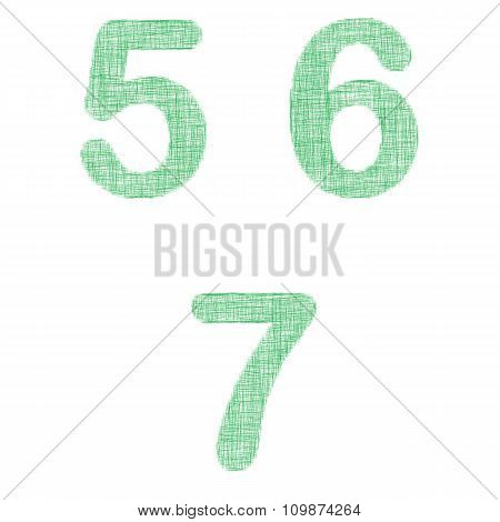 Green fabric font set - numbers 5, 6, 7