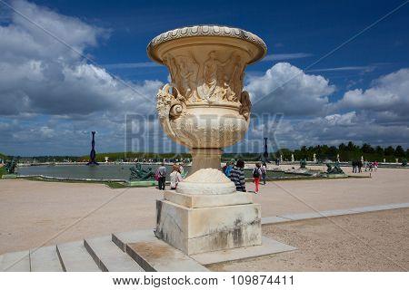 Sculptures In Garden Of Versailles Palace.