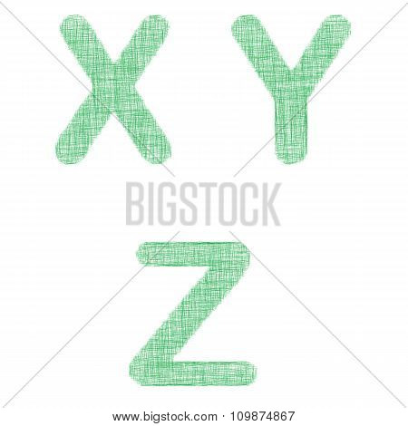 Green fabric font set - letters X, Y, Z