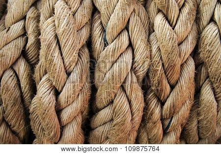 Boat Rope Closeup. Nautical Background.