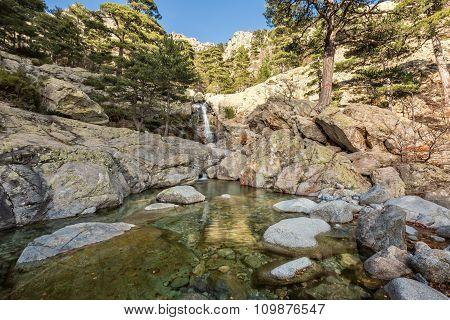 Cascade Des Anglais Waterfall Near Vizzavona In Corsica
