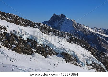 Glacier And High Mountain, View From The Jungfraujoch