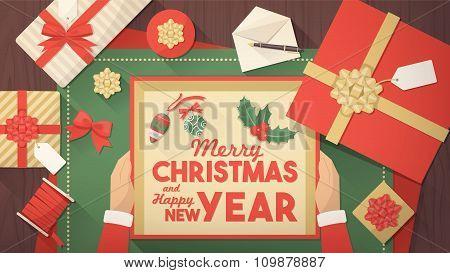 Santa Preparing Christmas Gifts