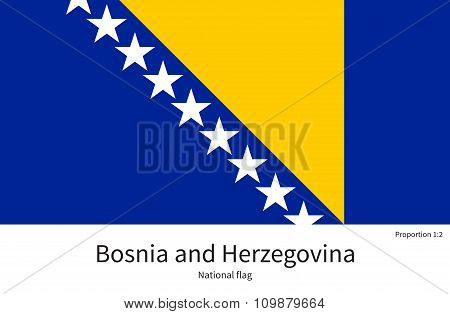 National flag of Bosnia and Herzegovina with correct proportions, element, colors