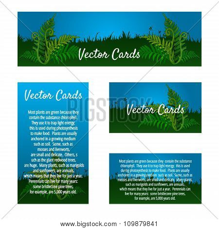 Set of four business cards with natural ornament