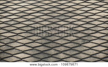 Closeup photo, abstract background, Steel grating texture
