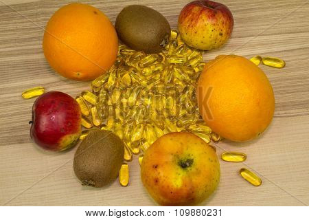 Pile Of Pills With Fruits