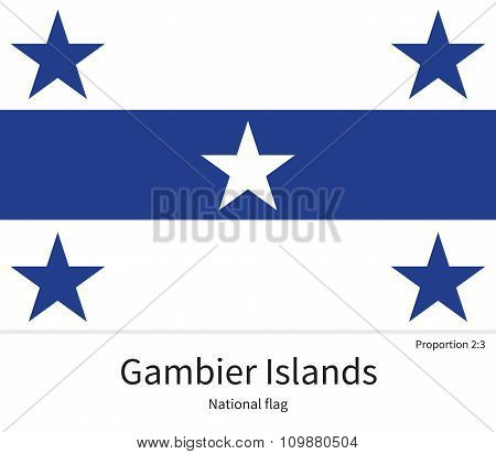 National flag of Gambier Islands with correct proportions, element, colors