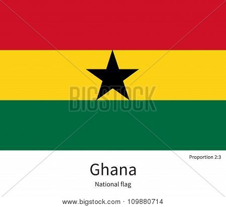 National flag of Ghana with correct proportions, element, colors