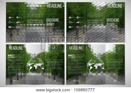 Vector set of tri-fold brochure design template on both sides with world globe element. Park landsca