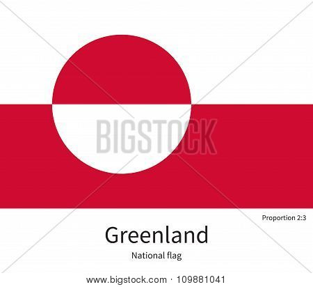 National flag of Greenland with correct proportions, element, colors