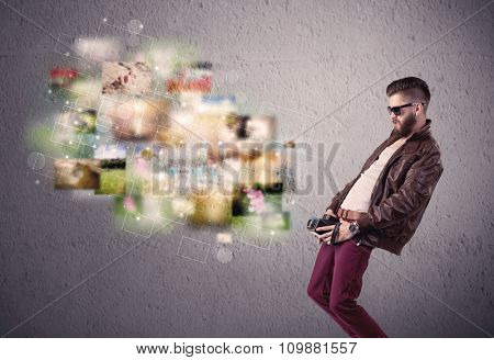 A funny stylish hipster guy capturing moments and memories with a retro photo camera illustration concept