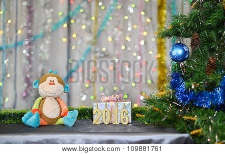 Christmas card 2016. Year of Monkey. Toy monkey, silver gift