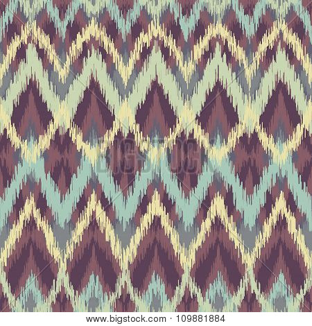 Vector colorful decorative seamless ikat ethnic pattern