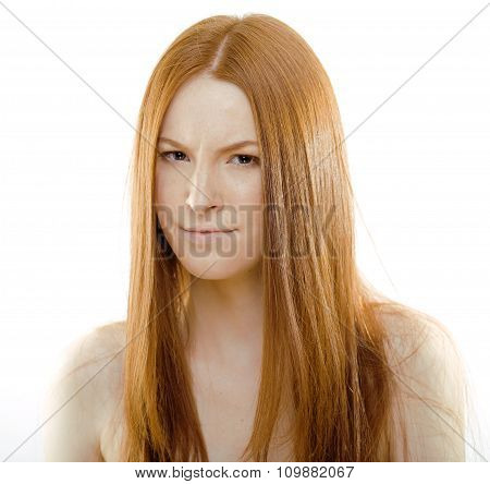 beauty young woman with red flying hair, funny ginger