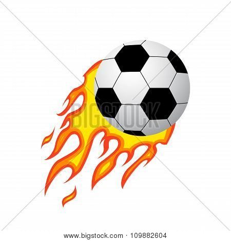 Soccer ball icon on fire