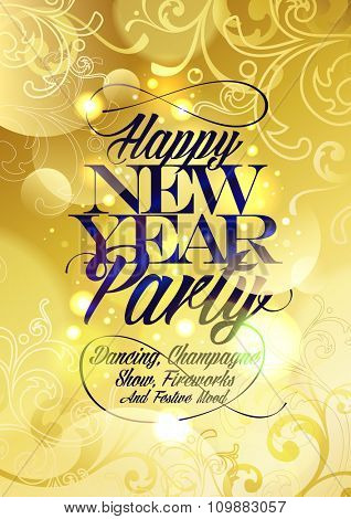 New Year party gold design with floral elements and bokeh.