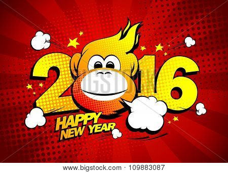 Happy new year 2016 card with hot fiery monkey against red rays backdrop, comic style.