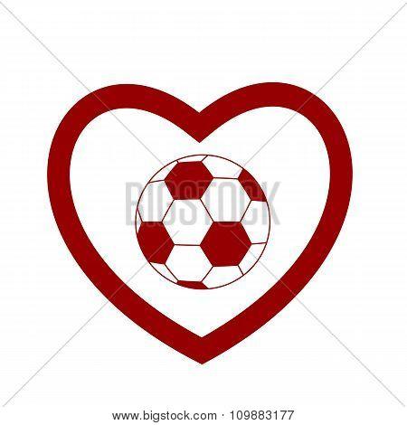 soccer ball inside a red heart