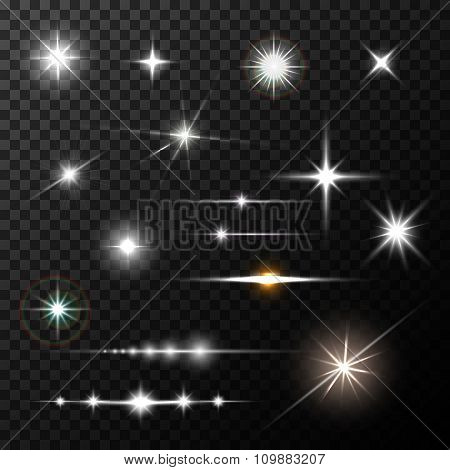 Realistic lens flares star lights and glow white elements on transparent background