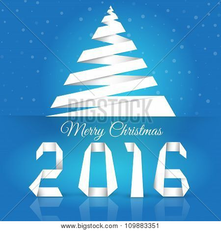 Merry Christmas. Background With Snowflakes.new 2016 Year Greeting Card Made In Origami Style, Vecto